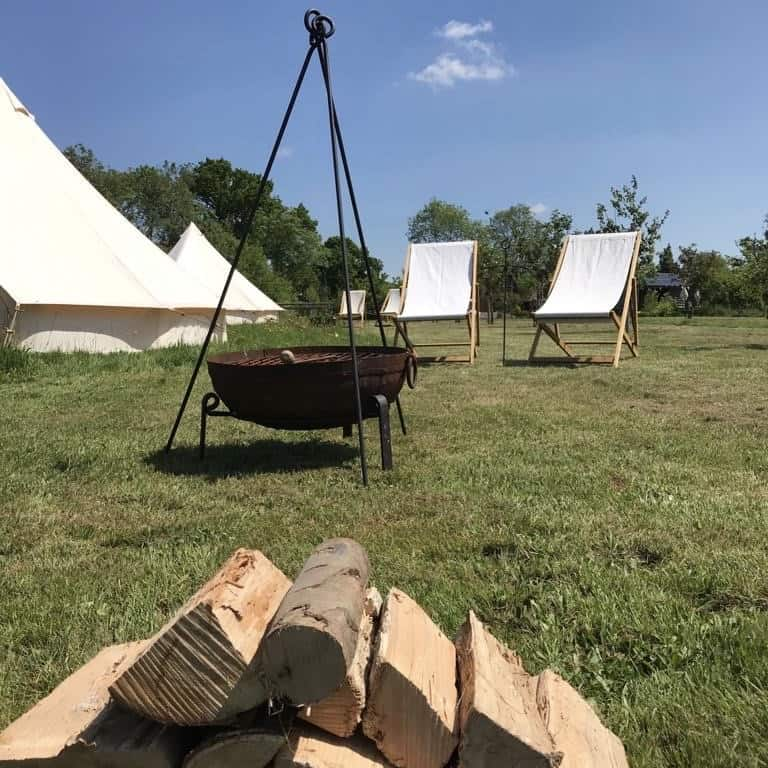 glamping tent with fire