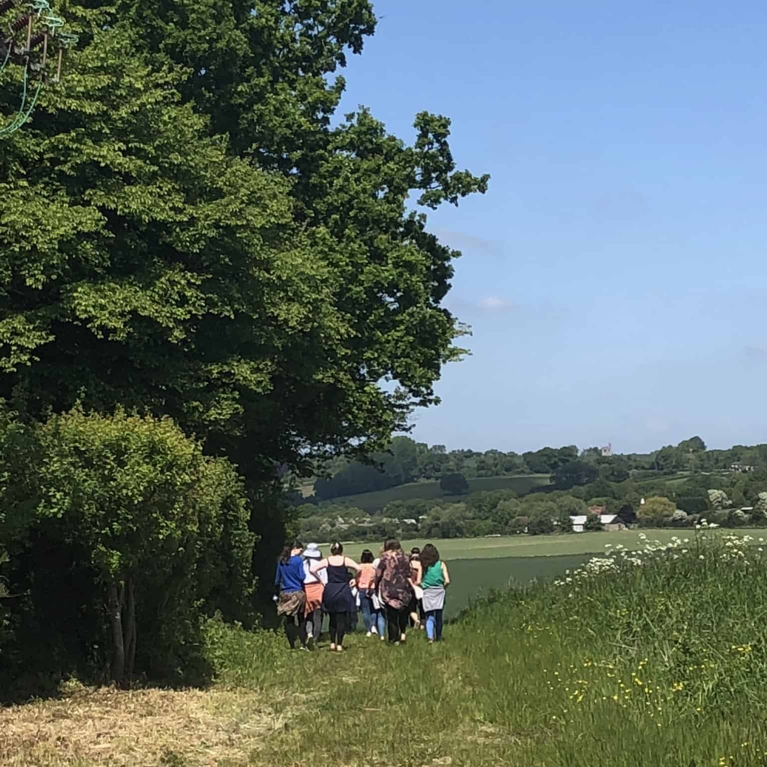 crowd walking in the kent countryside